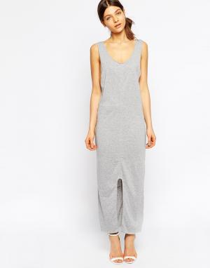 Tired Of Tokyo Трикотажное платье макси с асимметричным подолом. Цвет: серый