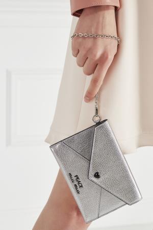 Кожаный кошелек Miu. Цвет: серебряный