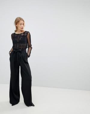 Pimkie Черные широкие брюки с поясом. Цвет: черный
