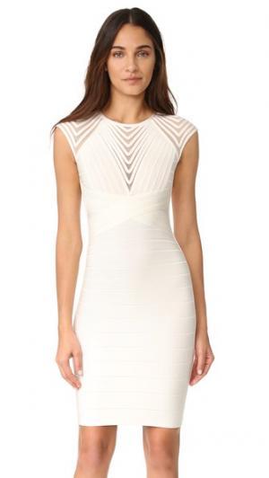 Платье Deanna с короткими рукавами Herve Leger. Цвет: алебастровый