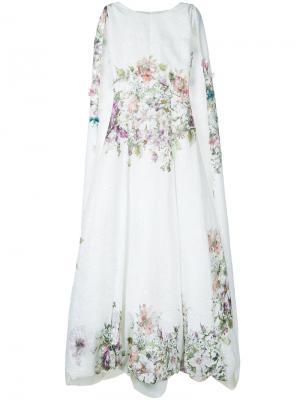 Вечернее платье с цветочной отделкой и кейпом Isabel Sanchis. Цвет: белый