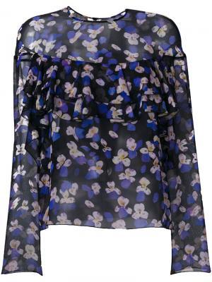 Прозрачная блузка с цветочным принтом Philosophy Di Lorenzo Serafini. Цвет: чёрный