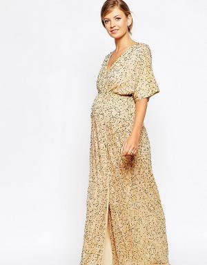 ASOS Maternity Платье-кимоно макси для беременных с пайетками. Цвет: розовый