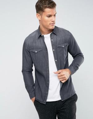 Selected Homme Джинсовая рубашка узкого кроя в стиле вестерн. Цвет: серый