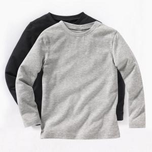 Комплект из 2 футболок, 3-12 лет La Redoute Collections. Цвет: красный + темно-синий,серый меланж + белый,черный + серый меланж