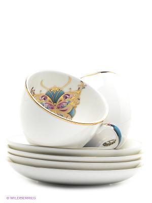 Чайный набор на 4 перс. Песня Мотылька Pavone. Цвет: белый, голубой