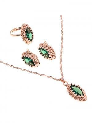 Набор: серьги, кулон, кольцо Queen Fair. Цвет: зеленый, золотистый