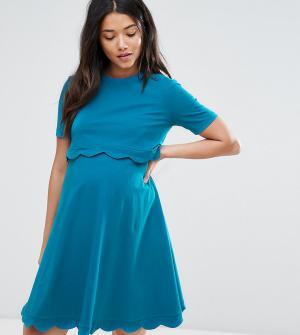 ASOS Maternity - Nursing Платье для беременных и кормящих мам с короткими рукавами Materni. Цвет: зеленый