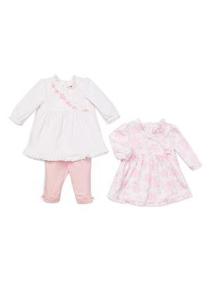 Комплект из 3-х предметов Розовая фантазия Little Me. Цвет: белый, розовый