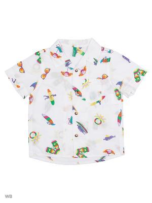 Рубашка United Colors of Benetton. Цвет: белый, желтый, зеленый