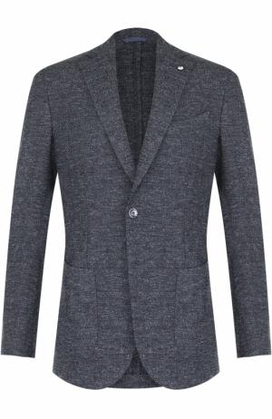 Однобортный пиджак из смеси шерсти и вискозы L.B.M. 1911. Цвет: синий