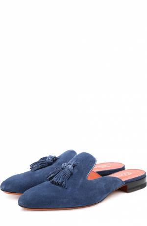 Замшевые сабо с кисточками Santoni. Цвет: синий