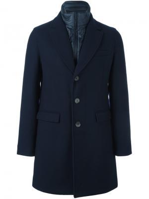 Пальто с контрастной деталью Herno. Цвет: синий