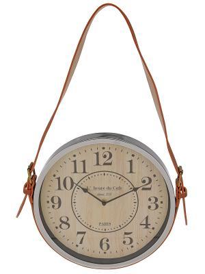 Часы настенные Серебристые на кожаном ремне (30 см) NAST251 Mitya Veselkov. Цвет: серебристый