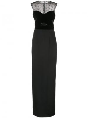 Прозрачное длинное платье-колонна Monique Lhuillier. Цвет: чёрный