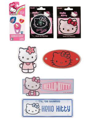 Набор из 7 предметов:  микрофонарик Hello Kitty и 6 наклеек в ассортименте.. Цвет: черный, красный, розовый
