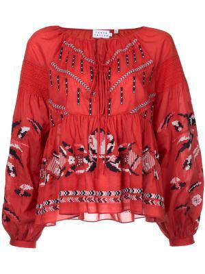 Блузка с вышивкой Tanya Taylor. Цвет: красный