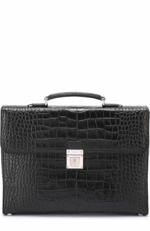 Кожаный портфель с тиснением Serapian. Цвет: черный