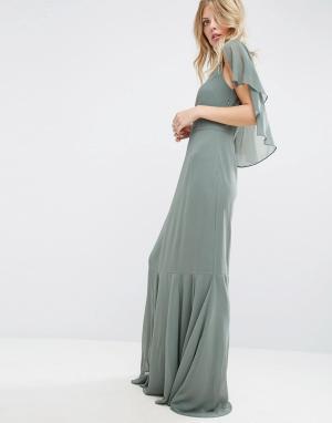 ASOS Платье макси в стиле 30-х с кейпом и годе. Цвет: зеленый