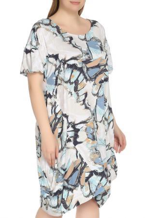 Платье с цветочным принтом Shalle. Цвет: белый, голубой