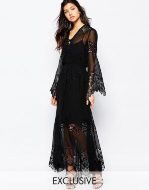 White Sand Шифоновое платье макси с кружевной отделкой Excalibur. Цвет: черный