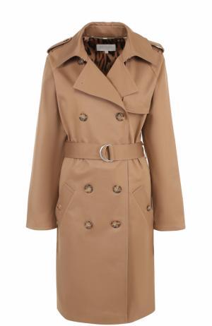 Двубортное пальто с поясом и погонами Escada Sport. Цвет: бежевый