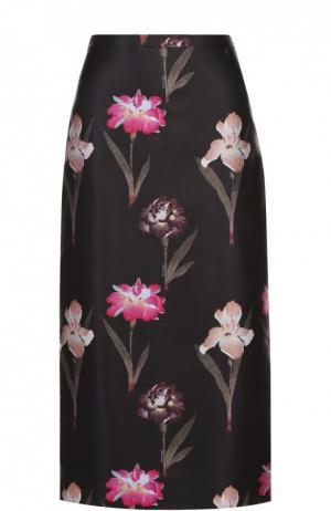 Юбка-миди с контрастным цветочным принтом Rochas. Цвет: черный