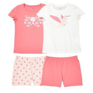2 пижамы с шортами из хлопка 2-12 лет La Redoute Collections. Цвет: розовый + экрю