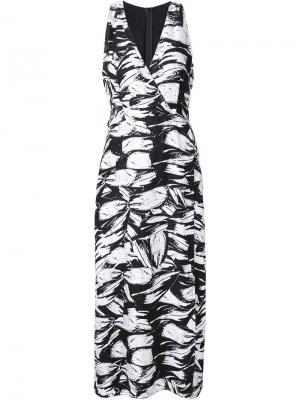 Платье с абстрактным цветочным принтом Yigal Azrouel. Цвет: чёрный