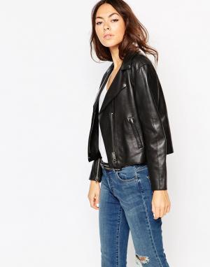 Muubaa Кожаная байкерская куртка Paso. Цвет: черный