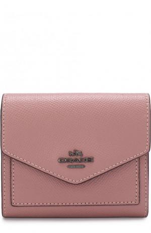 Портмоне из зерненой кожи с отделениями для кредитных карт Coach. Цвет: розовый