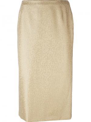 Декорированная юбка-карандаш Versace Vintage. Цвет: металлический