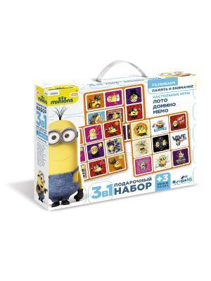 Minons. Подарочный набор 3 в 1: Лото, Домино, Мемо. Minions. Цвет: желтый, голубой, фиолетовый