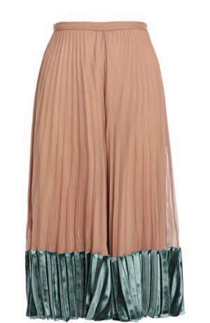 Шелковая плиссированная юбка с бархатной отделкой Valentino. Цвет: светло-розовый