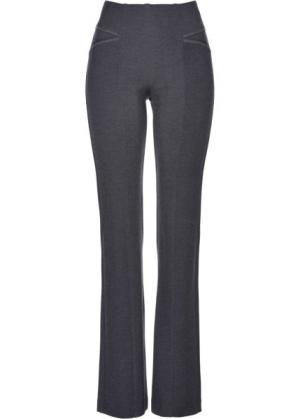 Расклешенные трикотажные брюки (антрацитовый меланж) bonprix. Цвет: антрацитовый меланж