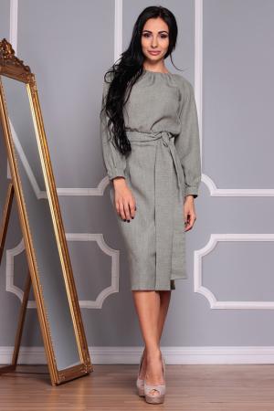 Полуприлегающее платье с длинными рукавами REBECCA TATTI. Цвет: темно-оливковый