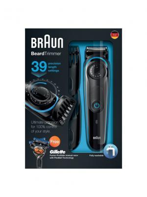 Триммер для бороды BT3040 Braun. Цвет: синий