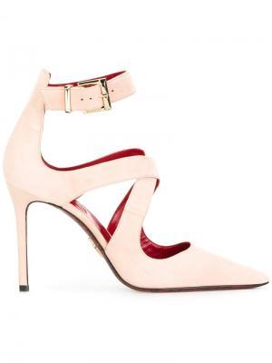 Туфли-лодочки с перекрестными ремешками Cesare Paciotti. Цвет: телесный