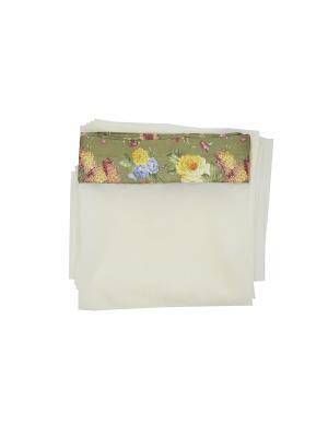 Тюль с отделкой Цветочный букет 300х270 см T&I. Цвет: молочный, розовый, желтый, зеленый