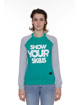 Толстовка SKILLS W Show You Crewneck. Цвет: зеленый, морская волна, серый меланж
