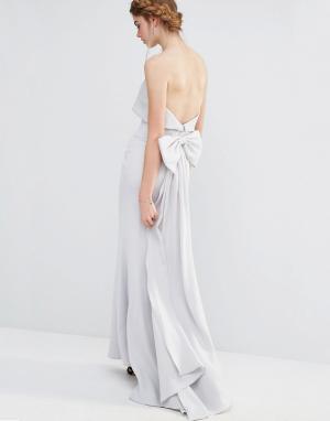 Jarlo Свадебное платье макси с большим бантом сзади. Цвет: серый