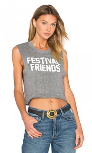 Топ festival friends Private Party. Цвет: серый