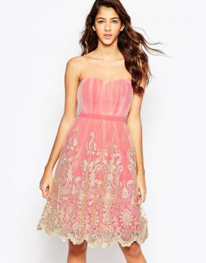 Laced In Love Платье для выпускного с кружевной кромкой. Цвет: мульти