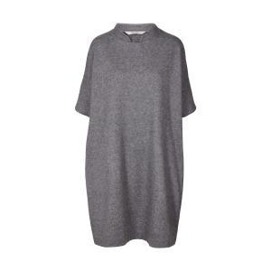 Платье свободного покроя из шерсти с короткими рукавами и стоячим воротником AND LESS. Цвет: серый меланж