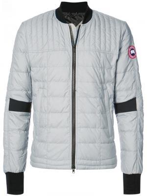 Дутая куртка-бомбер на молнии Canada Goose. Цвет: серый