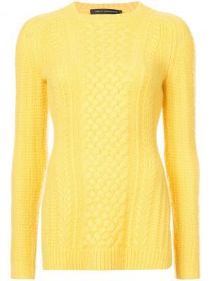 Джемпер с узором косы Sally Lapointe. Цвет: жёлтый и оранжевый