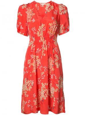 Шелковое платье с узором Rebecca Taylor. Цвет: красный