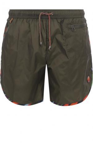 Плавки-шорты с контрастной отделкой Missoni. Цвет: темно-зеленый
