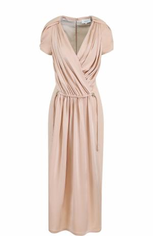 Приталенное платье-миди с драпировкой Carven. Цвет: светло-розовый