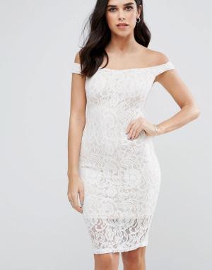 AX Paris Кружевное платье. Цвет: кремовый